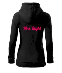 Mrs Right - Mr Right Dámská mikina trendy zipper s kapucí