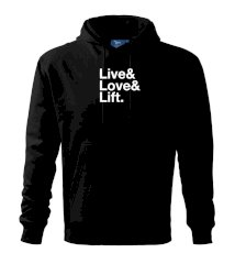 Live, love, lift Mikina s kapucí hooded sweater
