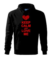 Keep calm and love me Mikina s kapucí hooded sweater