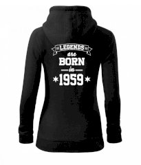 Legends are born in 1959 Dámská mikina trendy zipper s kapucí
