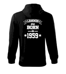 Legends are born in 1959 Mikina s kapucí na zip trendy zipper